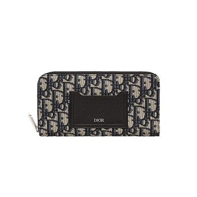 [스페셜오더]DIOR-2CABC082 디올 블루 오블리크 집 어라운드 지갑