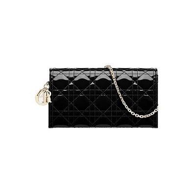 [스페셜오더]Christian Dior-S0204 디올 블랙 까나쥬 페이턴트 Lady Dior 체인 클러치 백