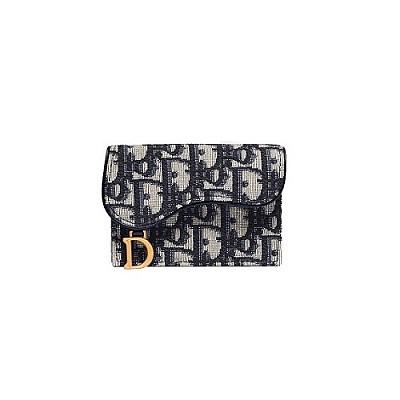 [스페셜오더]Christian Dior-S5611 크리스찬 디올 블루 오블리크 플랫 카드 지갑