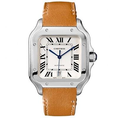 ★[1대1완벽재현]Cartier-WSSA0009 까르띠에 산토스 오토매틱 스틸 라지모델 가죽스트랩 시계40mm