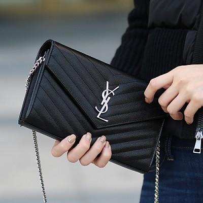 [스페셜오더]SAINT LAURENT-393953 생 로랑 블랙 실버 마틀라세 모노그램 엔벨로프 woc 체인 지갑