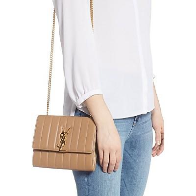 [스페셜오더]SAINT LAURENT-554125 생 로랑 카멜 퀼티드 램스킨 비키 체인 지갑