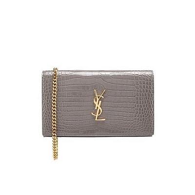 [스페셜오더]SAINT LAURENT-377829 생 로랑 그레이 골드 크로커다일 무늬 모노그램 체인 지갑
