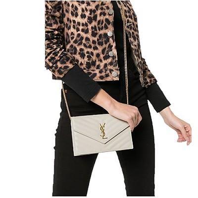[스페셜오더]SAINT LAURENT-393953 생 로랑 화이트 골드 마틀라세 모노그램 엔벨로프 woc 체인 지갑