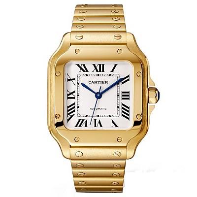 [스페셜오더]Cartier-까르띠에 산토스 오토매틱 미디엄 옐로우 골드 실버 시계 35mm