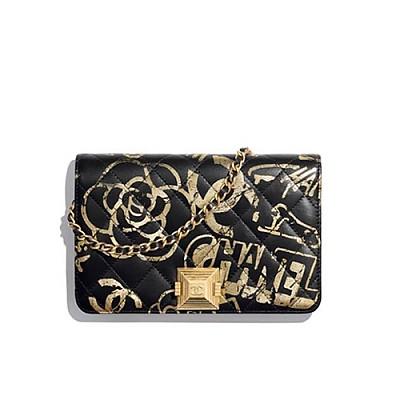 [스페셜오더]CHANEL-AP0388 샤넬 블랙 프린티드 이미테이션 Wallet on Chain 지갑