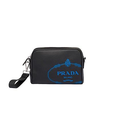 [스페셜오더]PRADA-2VH063 프라다 블랙 사피아노 스크린 프린트 로고 밴돌리어백