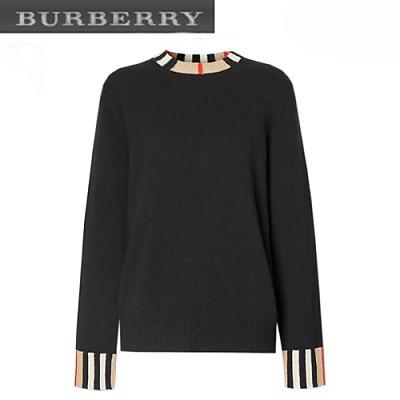 BURBERRY-80089391 버버리 블랙 아이콘 스트라이프 트리밍 스웨터