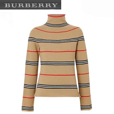 BURBERRY-180191931 버버리 베이지 아이콘 스트라이프 터틀넥 스웨터