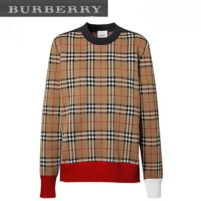BURBERRY-80240651 버버리 빈티지 체크 메리노 울 블렌드 자카드 스웨터