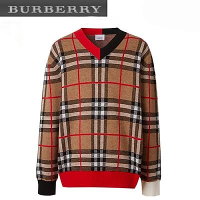 BURBERRY-80236641 버버리 체크 메리노 울 자카드 브이넥 스웨터