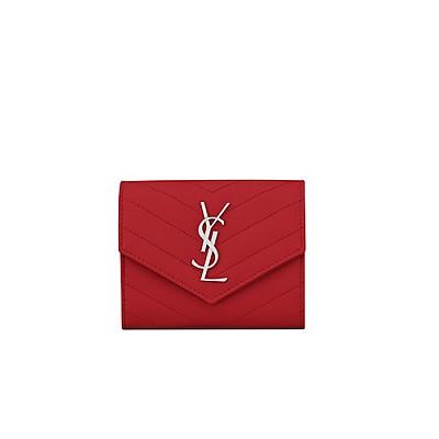 [스페셜오더]SAINT LAURENT-403943 생 로랑 레드 텍스처드 마틀라세 모노그램 컴팩트 3단 지갑