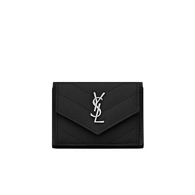 [스페셜오더]SAINT LAURENT-505118 생 로랑 블랙 마틀라세 은장 모노그램 티니 월릿