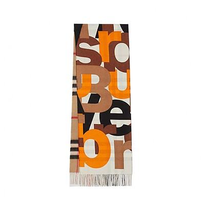 BURBERRY-80244701 버버리 월넛 블록 프린트 체크 캐시미어 스카프