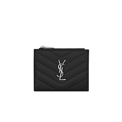 [스페셜오더]SAINT LAURENT-517045 생 로랑 블랙 텍스처드 퀼티드 송모노그램 지퍼 카드 케이스