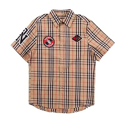 BURBERRY-80245291 버버리 클래식핏 그래픽 로고 아플리케 남성 체크 코튼 셔츠