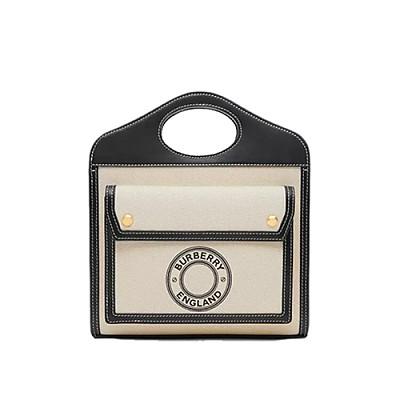 [스페셜오더]BURBERRY-80280581 버버리 블랙/화이트 미니 로고 그래픽 캔버스 레더 포켓 백