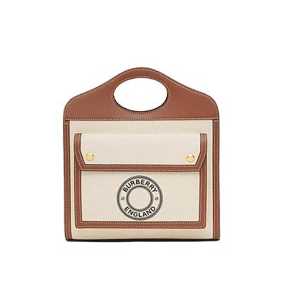 [스페셜오더]BURBERRY-80280581 버버리 탠/화이트 미니 로고 그래픽 캔버스 레더 포켓 백