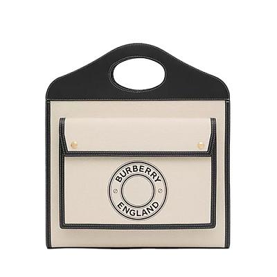 [스페셜오더]BURBERRY-80280411 버버리 블랙/화이트 미디엄 로고 그래픽 캔버스 레더 포켓 백