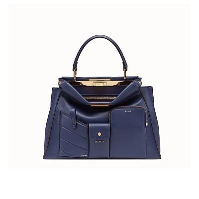 [스페셜오더]FENDI-8BN312 펜디 블루 피카부 아이코닉 미디엄 포켓 핸드백