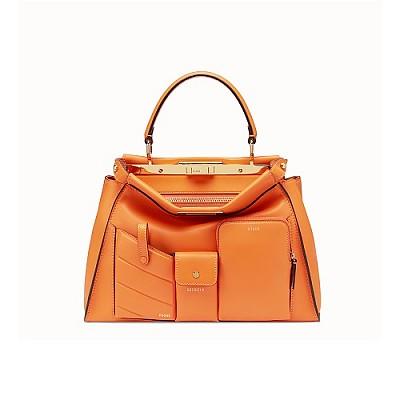 [스페셜오더]FENDI-8BN312 펜디 오렌지 피카부 아이코닉 미디엄 포켓 핸드백