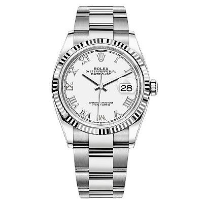 [스페셜오더]ROLEX-롤렉스 데이트저스트 데이트 플루티드 베젤 스틸 남녀공용 시계 36mm