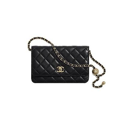 [스페셜오더]CHANEL-AP1450 샤넬 블랙 골드 메탈 참장식 체인 지갑