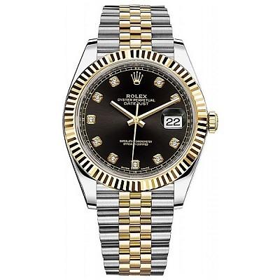[스페셜오더]ROLEX-롤렉스 데이트저스트 데이트 다이아몬드 옐로우 골드 스틸 블랙 콤비시계 41mm