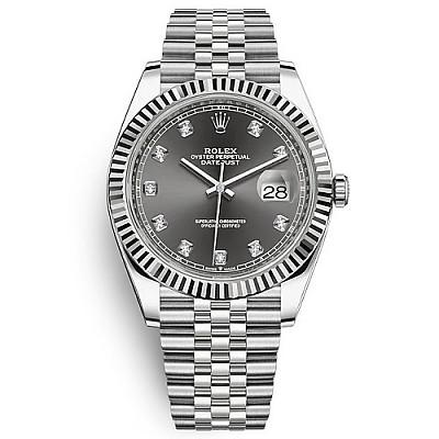 [스페셜오더]ROLEX-롤렉스 데이트저스트 데이트 다이아몬드 스틸 다크 로디움 시계 41mm