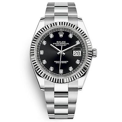 [스페셜오더]ROLEX-롤렉스 데이트저스트 데이트 다이아몬드 스틸 블랙 시계 41mm