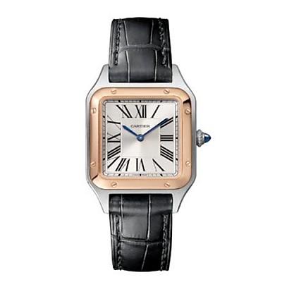 [스페셜오더]Cartier-W2SA0012 까르띠에 산토스 뒤몽 스틸 핑크 골드 베젤 스몰 실버 다이얼 여성용시계 38mm