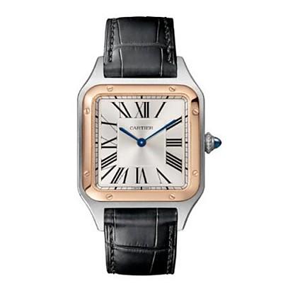 [스페셜오더]Cartier-W2SA0011 까르띠에 산토스 뒤몽 스틸 핑크 골드 베젤 라지 실버 다이얼 남성성용시계 43.5mm