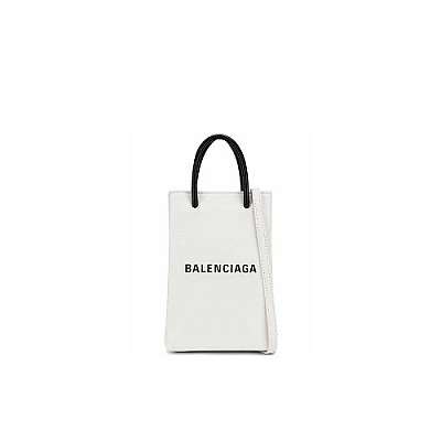 [스페셜오더]BALENCIAGA-5938260 발렌시아가 화이트 쇼핑 휴대폰 지갑 폰 홀더