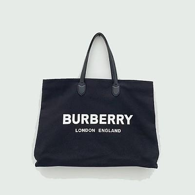 [스페셜오더]BURBERRY-8009268 버버리 블랙 로고 디테일 코튼 토트백
