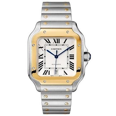 [스페셜오더]Cartier-까르띠에 산토스 오토매틱 라지 옐로우 골드 스틸 실버 워치 40mm