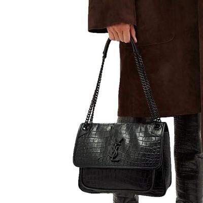 [스페셜오더]SAINT LAURENT-5489421 생 로랑 블랙 크로커다일 무늬 가죽 미디엄 니키 체인백