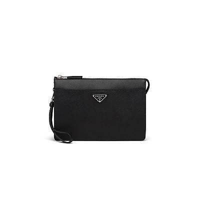 [스페셜오더]PRADA-2VF032 프라다 블랙 사피아노 블랙 트라이앵글 로고 클러치