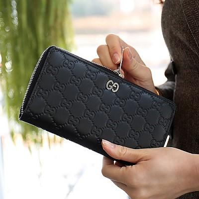 [스페셜오더]GUCCI-473928 1000 구찌 블랙 시그니처 지퍼 어라운드 지갑
