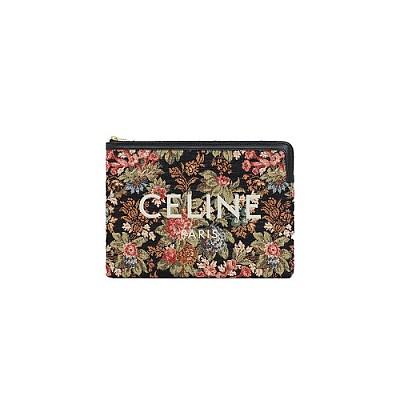 [스페셜오더]CELINE-10D672 셀린느 블랙 플로럴 자카드 스몰 파우치