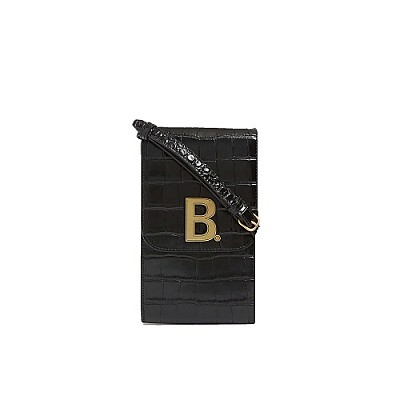 [스페셜오더]BALENCIAGA-6002011 발렌시아가 블랙 크로커다일 엠보스트 도트 로고 B 폰 홀더