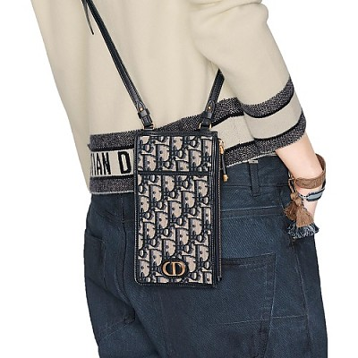 [스페셜오더]DIOR-S2090 크리스찬 디올 블루 멀티 컬러 오블리크 자카드 30 MONTAIGNE 장지갑