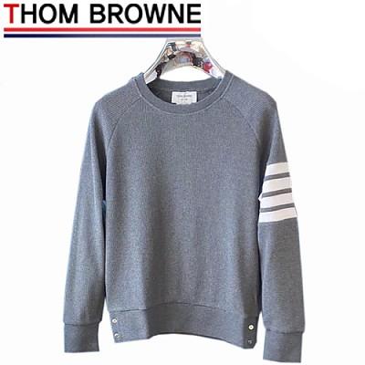 THOM BROWNE-08308 톰 브라운 그레이 스트라이프 장식 스웨트셔츠 남여공용