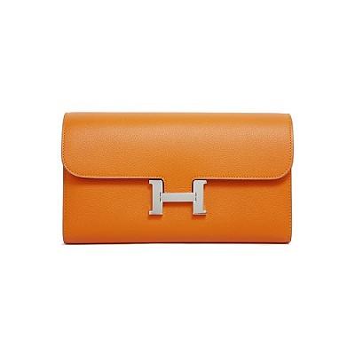 [스페셜오더]HERMES-H063626 에르메스 오렌지 앱송 Constance 콘스탄스 실버 하드웨어 롱 월릿