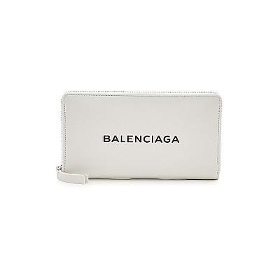 BALENCIAGA-490625 발렌시아가 화이트 로고 장식 컨티넨탈 지퍼 어라운드 지갑